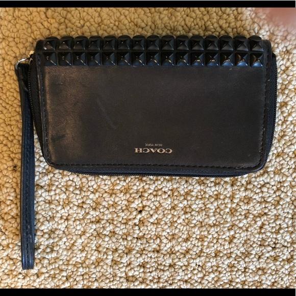 Coach Handbags - Coach Legacy Pyramid Studded Blk Leather Wristlet